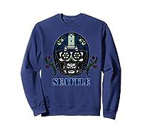 Seattle Football Helmet Sugar Skull Day Of The Dead T Shirt Sweatshirt Navy