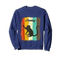 Monkey Shirt Retro 70s Vintage Animal Lover Art Design Tank Top Sweatshirt Navy