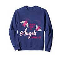 I Believe There Are Angels Among Us Breast Cancer Awareness T Shirt Sweatshirt Navy