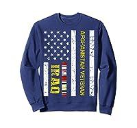 Proud Iraq Afghanistan Veteran Flag Gifts For Veteran Day T Shirt Sweatshirt Navy