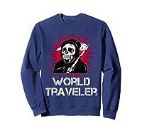 Grim Reaper World Traveler Dark Humor Black Metal Shirts Sweatshirt Navy