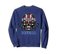 Buffalo Football Helmet Sugar Skull Day Of The Dead T Shirt Sweatshirt Navy