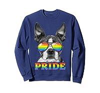 Boston Terrier Gay Pride Lgbt Rainbow Flag Sunglasses Lgbtq T-shirt Sweatshirt Navy