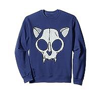 Spooky Cat Skull Halloween Creepy Horror Kitty Skeleton Face T Shirt Sweatshirt Navy