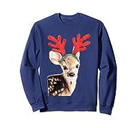 Cute Festive Fawn Wearing Reindeer Antlers Shirts Sweatshirt Navy