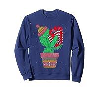 Cactus Christmas Tree Gift Santa Xmas Succulent Plant Lover T-shirt Sweatshirt Navy