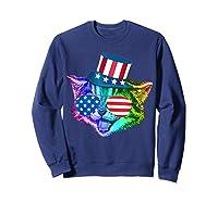 Ally Rainbow Cat Lesbian Gay Pride Gift America Flag Shirts Sweatshirt Navy