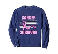 Cancer Survivor Breast Awareness Month American Flag Gift T Shirt Sweatshirt Navy