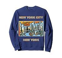 Lotta Shirts New York City Ny Postcard Greetings T Shirt Sweatshirt Navy
