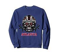 Atlanta Football Helmet Sugar Skull Day Of The Dead T Shirt Sweatshirt Navy