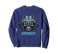 Detroit Football Helmet Sugar Skull Day Of The Dead T Shirt Sweatshirt Navy