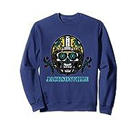 Jacksonville Football Helmet Sugar Skull Day Of The Dead T Shirt Sweatshirt Navy