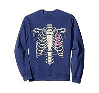 Skeleton Halloween Shirt Breast Cancer Awareness Month Tee Sweatshirt Navy