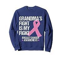 Breast Cancer Awareness Month Grandmas Fight Grandma Gift T Shirt Sweatshirt Navy