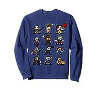 Friends Pixel Halloween Icons Scary Horror Movies Shirts Sweatshirt Navy