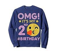 Cute Vintage Retro Emotion Face Omg It's My 2nd Birthday Shirts Sweatshirt Navy