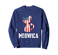 Patriotic 4th Of July Shirt Meowica American Flag Cat Lovers T-shirt Sweatshirt Navy