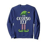 Coding Elf Matching Family Group Christmas Party Pajama Shirts Sweatshirt Navy