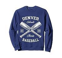 Denver Baseball, Classic Vintage Colorado Retro Fans Gift T-shirt Sweatshirt Navy