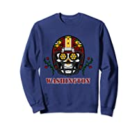 Washington Football Helmet Sugar Skull Day Of The Dead T Shirt Sweatshirt Navy