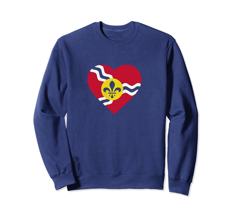 I Heart St. Louis Distressed Stl State Flag T-shirt Crewneck Sweater