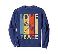Love Peace Dragonfly Hippie Funny Shirts Sweatshirt Navy