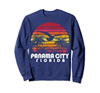 Vintage Retro Pa City Fl Florida Sunset Distressed Style T Shirt Sweatshirt Navy