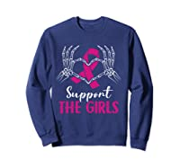 Support The Girls Boobs Hand Skeleton Breast Cancer Funny T Shirt Sweatshirt Navy