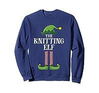 Knitting Elf Matching Family Group Christmas Party Pajama Shirts Sweatshirt Navy