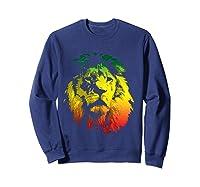 Lion Rasta Colors Rastafari Pride Reggae Inspired Shirts Sweatshirt Navy
