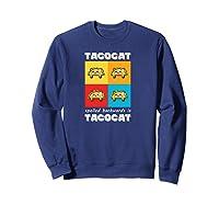 Funny Taco Cat Tacocat Mexican Hooded Shirts Sweatshirt Navy
