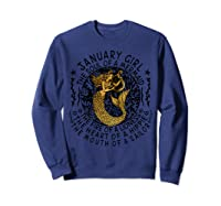 January Girl The Soul Of A Mermaid Tshirt Funny Gifts  Sweatshirt Navy