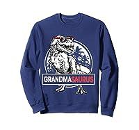 Grandmasaurus T Rex Grandma Saurus Dinosaur Grandmom Shirts Sweatshirt Navy