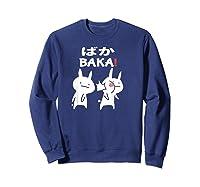 Baka Rabbit Slap Shirt Anime Japanese Gift Funny Pullover  Sweatshirt Navy