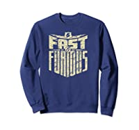 Fast Furious Distressed Lightning Bolt Word Stack Pullover Shirts Sweatshirt Navy