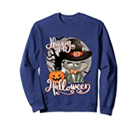 Happy Halloween Cute Cat In Witch Hat Pumpkin Spooky Novelty T Shirt Sweatshirt Navy