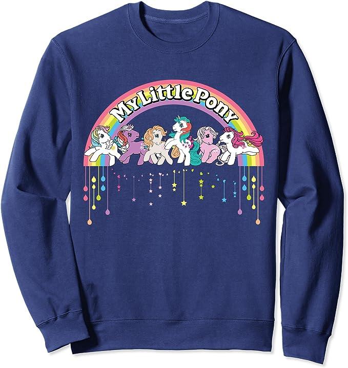Adult My Little Pony Classic Rainbow Logo and Characters Sweatshirt, Unisex