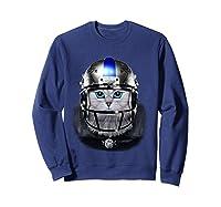 Cute Tabby Cat As American Football Player T-shirt Sweatshirt Navy