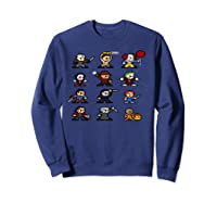 Friends Pixel Halloween Icons Scary Horror Movies Pullover Shirts Sweatshirt Navy