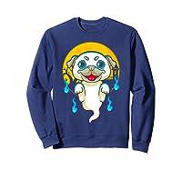 Cute Pug Dog Lover Ghost Funny Halloween Costume Gifts Shirts Sweatshirt Navy