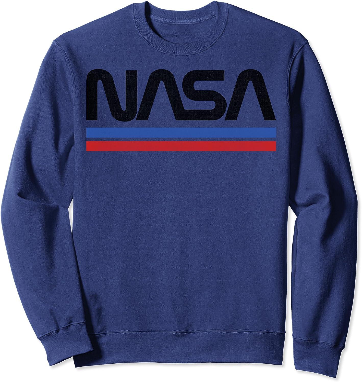 NASA Red Blue Stripe Minimal Vintage Sweatshirt NEW Graphic Logo New Orleans Mall