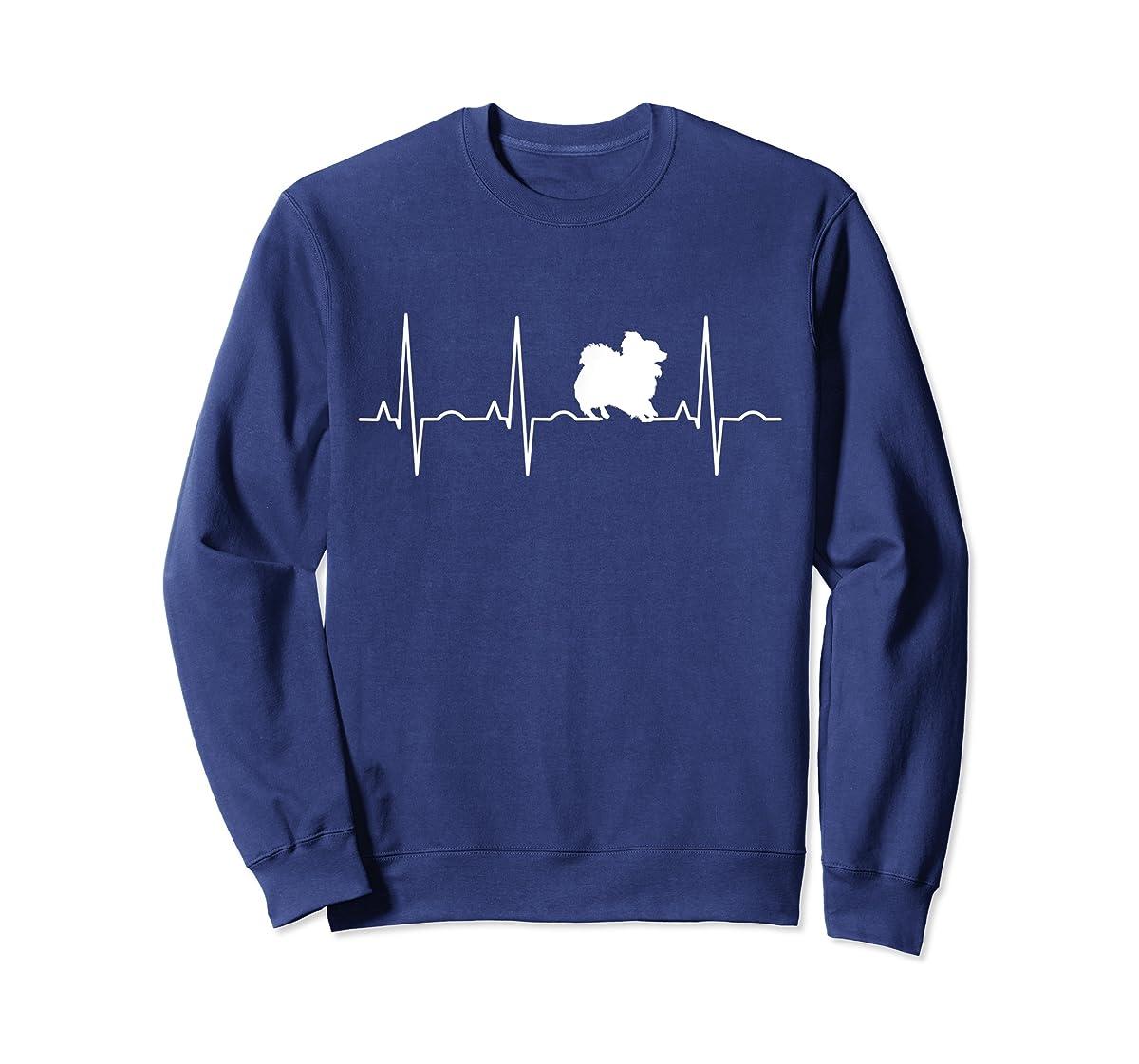 Pomeranian Heartbeat T-Shirt Pom Shirt Gifts Dog Lover-Sweatshirt-Navy