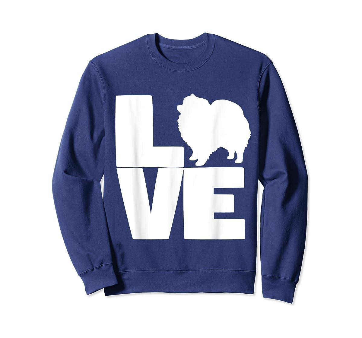 I Love Pomeranians Pom Mom or Dad Pet Lover T Shirt-Sweatshirt-Navy