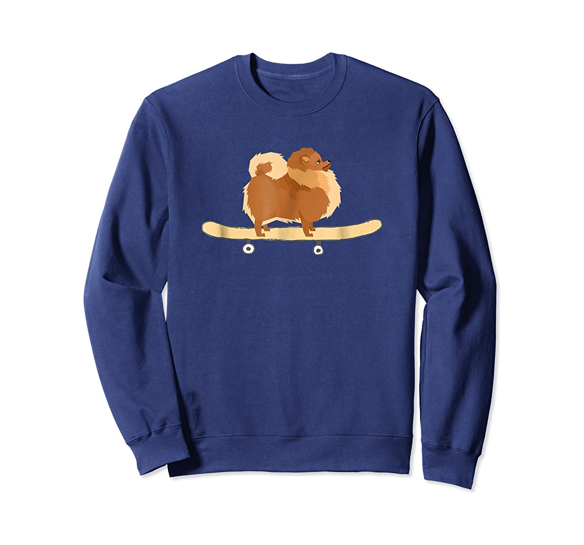 Funny Skateboarding Pomeranian Pom Puppy T-Shirt Gift-Sweatshirt-Navy