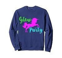 Colorful Glow Party 90's Unicorn Disco Style Dance Shirts Sweatshirt Navy