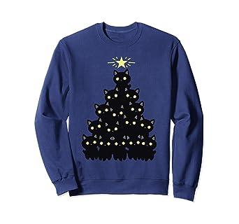 acc12c5a Amazon.com: Merry Catmas Christmas Black Cat Funny Holiday T-Shirt ...