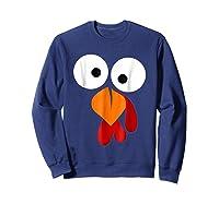 Turkey Face Funny Fun Thanksgiving Day Shirts Sweatshirt Navy