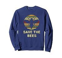 Save The Bees T Shirt Vintage Sunset Bees Gift Shirt Sweatshirt Navy