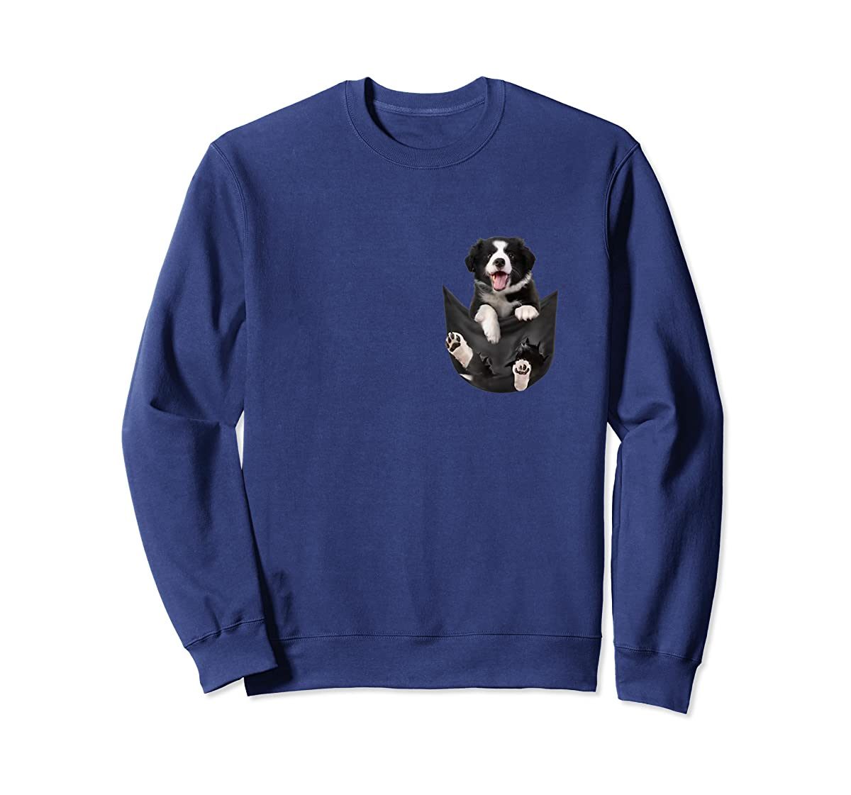 Border Collies Inside In Pocket Dog Lover T shirt Funny Cute-Sweatshirt-Navy