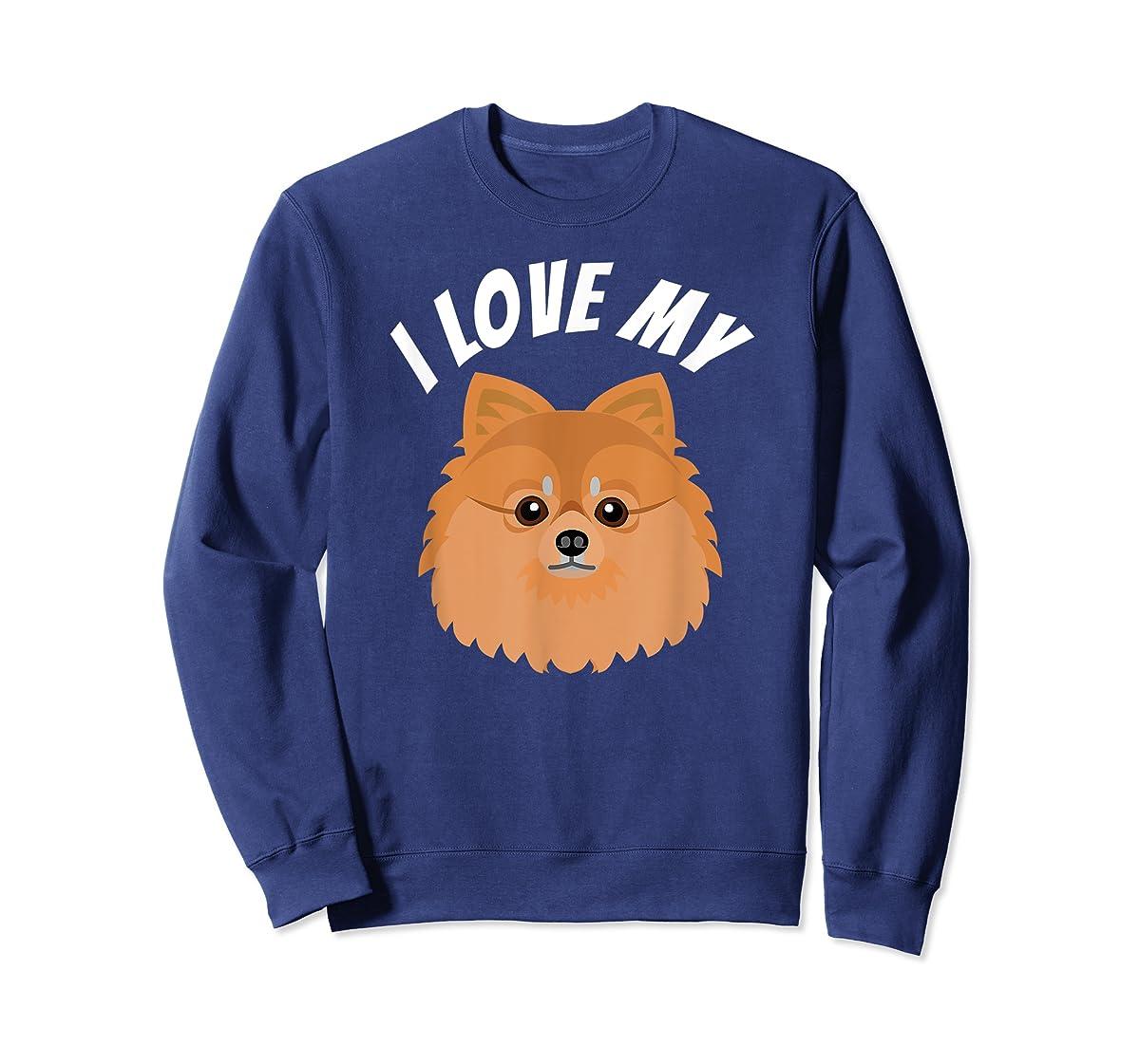I Love My Pomeranian T-Shirt Dog Lover Tee-Sweatshirt-Navy